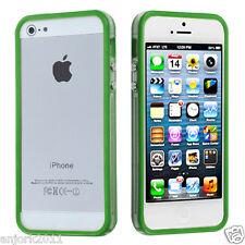 Apple iPhone 5 TPU HYBRID BUMPER w/ METAL BUTTONS ACCESSORY CLEAR GREEN