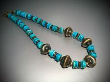 """EXQUISITE STERLING SILVER TURQOUISE NECKLACE MADE IN ITALY APROX 20"""" L - ESTATE"""