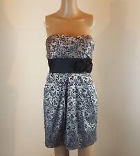 Speechless Juniors Strapless Dress Fleur-de-lis Pockets Size 5 Silver Gray Black