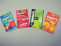 Vintage lot of 4 assorted WYLER'S Drink Mix Pouches Unopened 3 different styles!