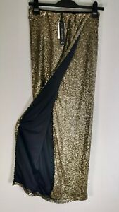 Bronze Sequin Long Tall Maxi Party Skirt Fully Lined by Rock & Religion Size 8