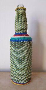 "Vintage Bottle Telephone Cable Woven Design Africa Folk Art Multi Colour 12.5"""