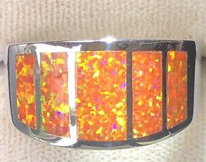 Orange fire Opal leaps of flames! Sterling silver 925 Men's Y  Ring prototype 12