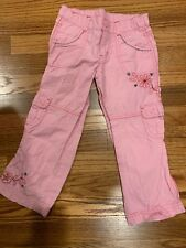 Pretty Girls Cargo Pants Size 4 From Pumpkin Patch - Pink, Floral Embroidery