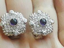 Judith Ripka Signed Sterling Silver Purple Amethyst Diamonique Pierced Earrings