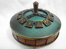 TRIBES OF ISRAEL GREEN ENAMEL BRASS & OLIVE WOOD ENCRUSTED BOX