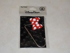 New Authentic Disney Parks Minnie Mouse Red Bow Bag Purse Handbag Hanger Hook