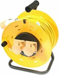 110v Extension Lead Cable Reel 50m or 25m 2 Socket Yellow 16A