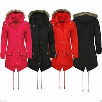 New Womens Kids Trench Faux Fur Hooded Parka Fishtail Jacket Plus Size