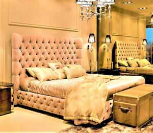 Sleigh Chesterfield Bed Wingback Upholstered Beds Plush Velvet Fabric King Bed