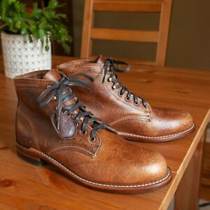 NEW Wolverine 1000 Mile Antique Cognac Brown Leather Boots US Mens 11D(W40580)