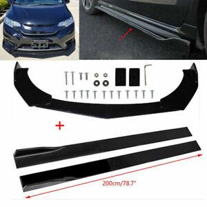 Car Side Skirts Extension Panel + Front Bumper Lip Winglet Bosy Kit Gloss Black
