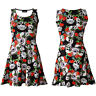 Unique Watcher Gothic Eye Floral Skull Roses Print Sleeveless Skater Dress Goth