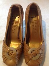 """Bronx Tan Uk 3 Leather Upper ,Slip On Wedges With Wood Effect Heels 3"""""""