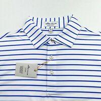 Peter Millar Crown Sport Summer Comfort Stretch White Blue Striped Polo M L XL