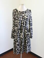 Belle Badgley Mischka Leopard Print Long Sleeve Dress Size 14 Flared Cheetah