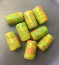 Vintage Cotton Pearl Mache Green Yellow Orange Tie Dye Coated Tube Bead Lot
