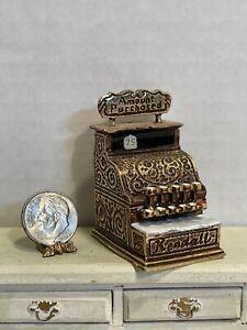 Vintage Artisan JKM Solid Carved Metal Cash Register Dollhouse Miniature 1:12
