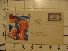 Vintage Envelope FIRST DAY OF ISSUE: AUG 24, 1943 NETHERLANDS fights for Freedom