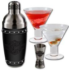 Harley-Davidson® Martini Glasses Stainless Steel Shaker & Jiggler Set HDL-18730