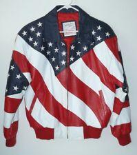 Michael Hoban Wheremi USA Flag Leather Jacket American Stars & Stripes Mens S