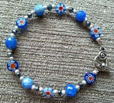Ladies Handmade Bracelet Blue Faceted Agate Beads Coated Pyrite Beads Gift
