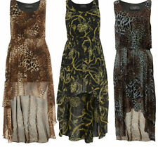 Viscose Animal Print Plus Size Sleeveless Dresses for Women