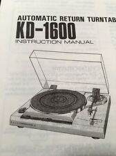 "Kenwood KD-1600 Turntable ""Original"" Owners Manual 9 Pages kd1600"