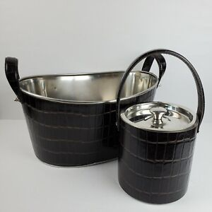 Tommy Bahama PARTY BAR SET Stainless Steel Ice Bucket & Chest Cooler