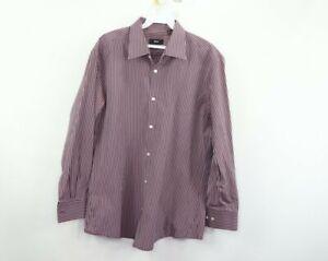 Hugo Boss Mens Size 16 32/33 Slim Fit Long Sleeve Dress Shirt Purple Striped