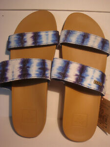 WOMEN'S REEF BLUE TIE DYE CUSHION BOUNCE VISTA TX SLIDE SANDALS SIZE 10 NWT