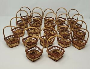 Lot of 22 Small Diamond Shaped Wicker Rattan Easter Baskets w/ Handle for Crafts