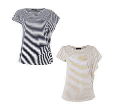 Weekend Max Mara Shirt mit Raffungen und Streifenmuster Damen T-Shirt NEU