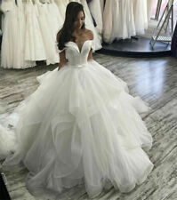Princess Wedding Dresses Sweetheart Off Shoulder Sweep Train Tulle Ruffle Gowns