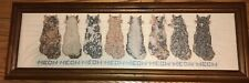 20th Century Cat Kittens Needlepoint Alphabet Sampler Style Primitive Signed
