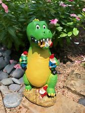 Great Garden Gnome - Dino's Playtime Lawn Statue , Funny Gnome New