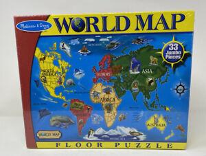 Melissa & Doug World Map Jumbo Jigsaw Floor Puzzle   Kids Educational 33 Pieces