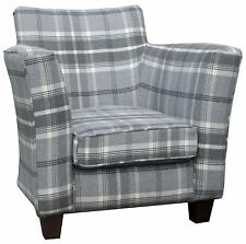 TUB ACCENT  CHAIR SUPERIOR QUALITY LUXURY GREY TARTAN   FABRIC