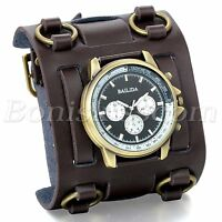 Mens Wide Brown Leather Strap Buckle Sport Analog Quartz Wrist Watch Bangle Cuff