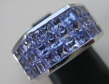 ESTATE 8.71CTW SQUARE CUT TANZANITE 18K WHITE GOLD SOLID MENS RING 10MM #S1293.5