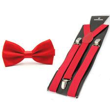 Men Classic Solid Color Pre-tied Bow Tie Elastic Y-Back Braces Suspenders Set