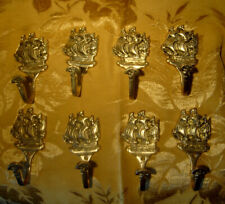 SET OF 8 VINTAGE BRASS SAILING SHIP WALL HOOKS/HANGERS NAUTICAL
