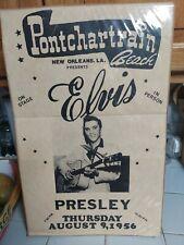 Elvis Presley Concert Poster Pontchartrain Beach 1956 14�X 22� Cardboard Stock