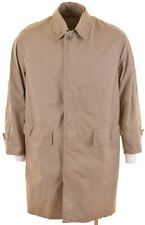 HUGO BOSS Mens Balmacaan Coat EU 46 Small Khaki Cotton Loose Fit  NN25