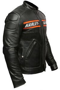 Men's HD Bill Goldberg Racer Motorcycle Distressed Moto Biker Leather Jacket