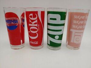 Vintage Jeannette Glass Corp Coke Pepsi 7up Tab Ice 4 Tea Glasses / Tumblers Bar