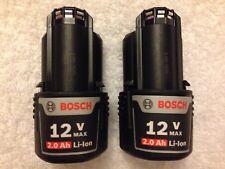 2 New Bosch BAT414 12 Volt 12V Max 2.0Ah Batteries Lithium Ion OEM
