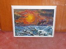 Expressionismus -- Sonnenuntergang am Meer - monogr. JWR - Öl/Pappe