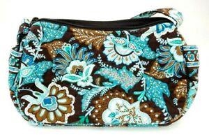 Vera Bradley Maggie Zipper Shoulder Bag in Java Blue Floral Pattern Retired EUC