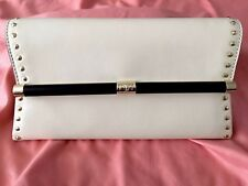 Diane Von Furstenberg Envelope Ivory Leather Studded Clutch New With Tags